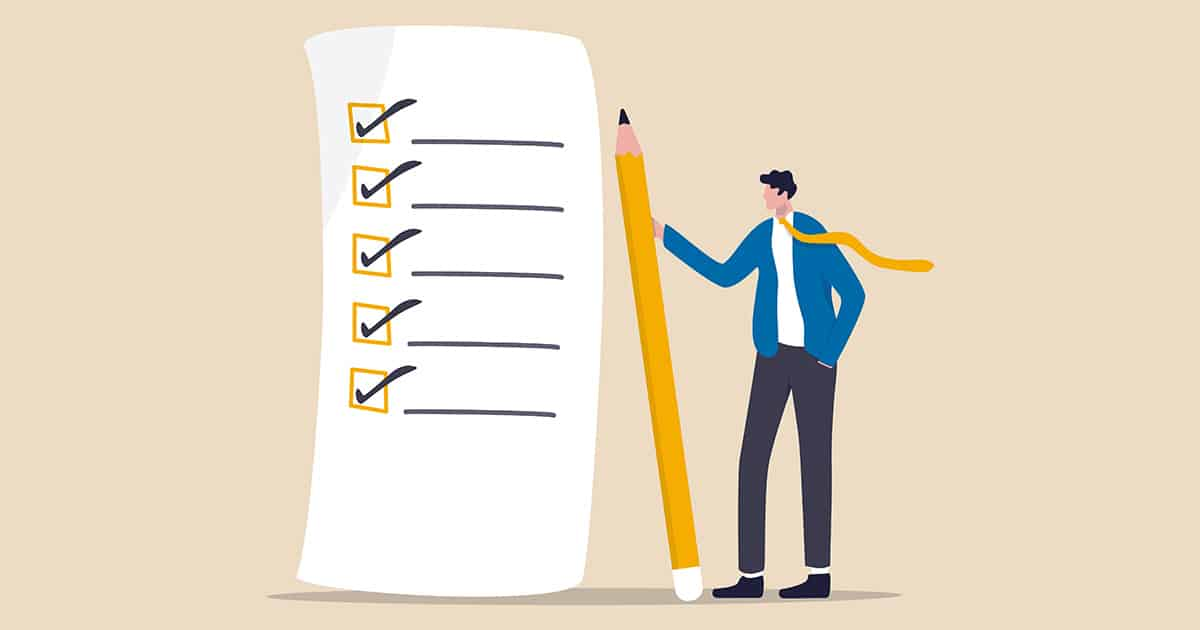Checklist for work completion, review plan, business strategy or