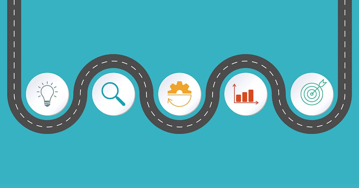 Timeline infographic design with winding road map. 5 steps, opti