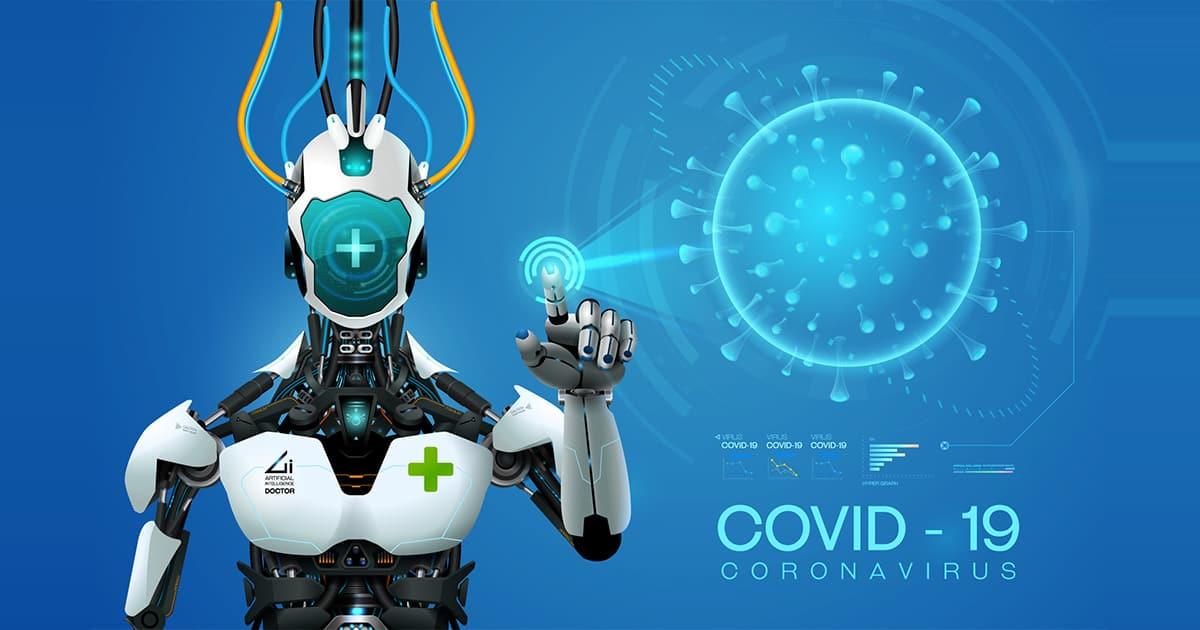 ai robot mediic with corona virus covid 19covid analysis outbrea