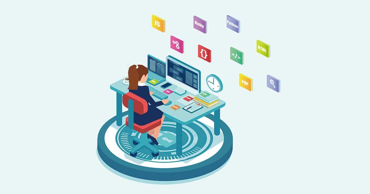 vector of a female programmer software engineer coding on desktop