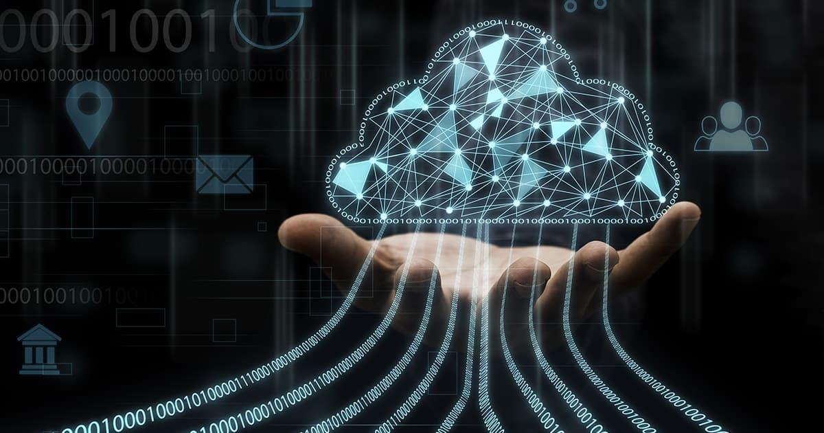 Businessman holding virtual cloud computing to transfer data inf