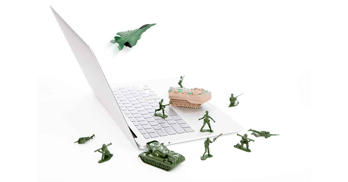 Computer security concept :  soldiers,tank,plane  are guarding a