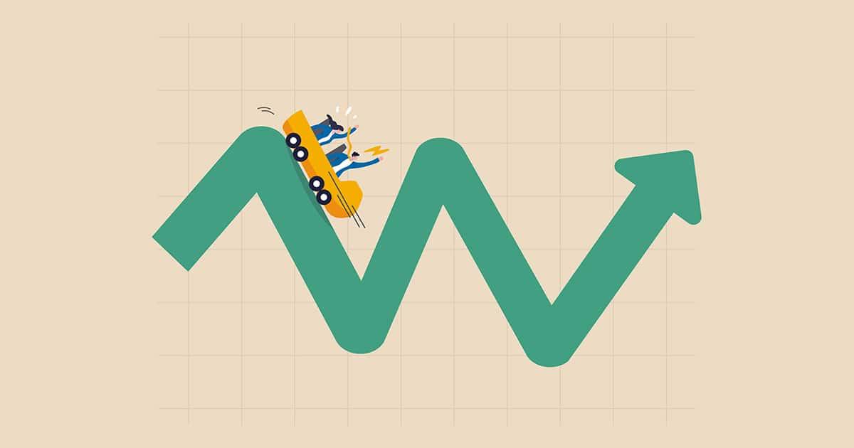 Investment volatility metaphor of riding roller coaster, financi