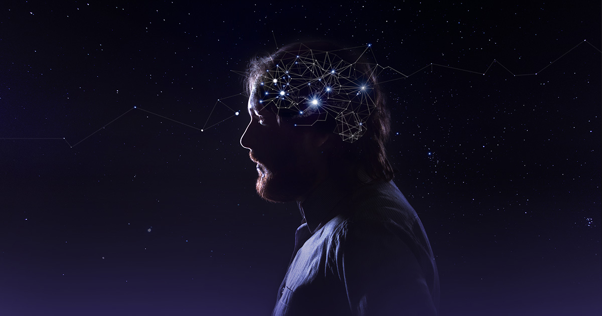 Profile of a bearded man head with a symbol of neurons in the brain