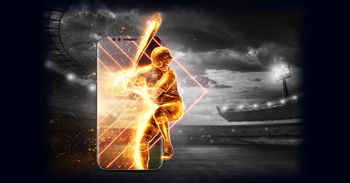 A silhouette, an image of a baseball player with a bat on fire crawls out of a smartphone, a hologram. Online sports concept, betting, American game.