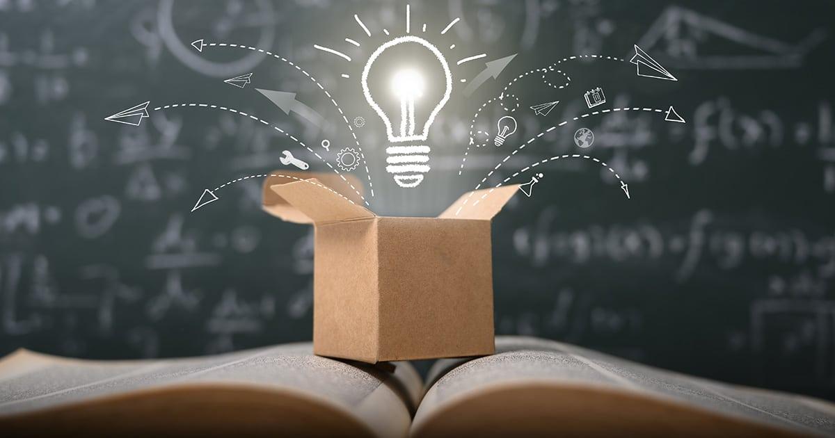 think outside the box on school green blackboard . startup  educ