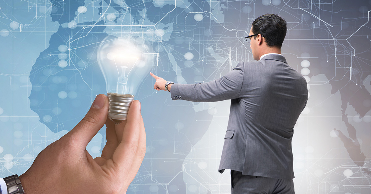 Bright idea concept with business people